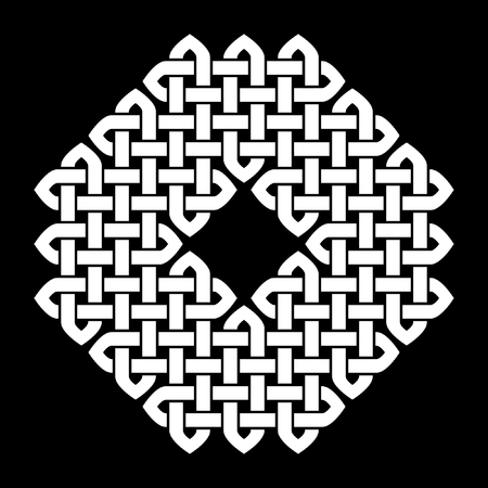 celtic background: Asian (Chinese, Korean or Japanese) or Celtic style knot. Monochromatic illustration. White knot on black background, isolated.