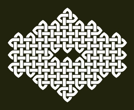 Asian (Chinese, Korean or Japanese) or Celtic style knot illustration. White knot on dark gray background, isolated. Illustration