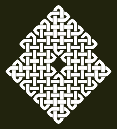 Asian (Chinese, Korean or Japanese) or Celtic style knot illustration. White knot on dark gray background, isolated. Ilustrace