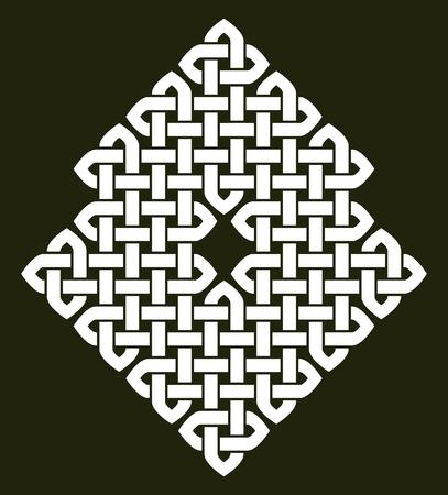 celtic background: Asian (Chinese, Korean or Japanese) or Celtic style knot illustration. White knot on dark gray background, isolated. Illustration