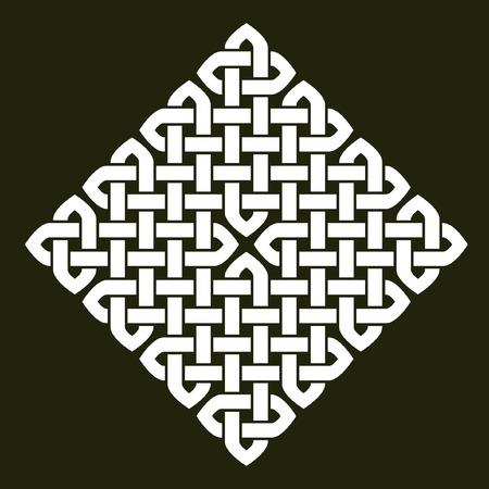 nudo: Asiático (chino, coreano o japonés) o ilustración vectorial de estilo celta nudo. nudo cuadrado blanco sobre fondo gris oscuro, aislado. Vectores