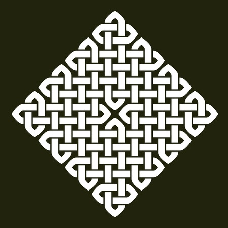 Asian (Chinese, Korean or Japanese) or Celtic style knot vector illustration. Square white knot on dark gray background, isolated.