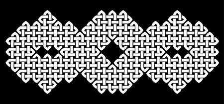 Asian (Chinese, Korean or Japanese) or Celtic style knot. Monochromatic illustration. White knot on black background, isolated.