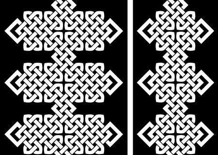 2 Oriental (Chinese, Korean or Japanese) knot seamless borders or patterns illustration.