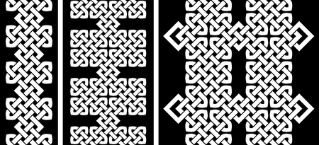 3 Oriental (Chinese, Korean or Japanese) knot seamless borders or patterns illustration.