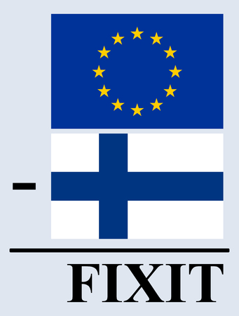 Fixit (Finland withdrawal from European Union). EU and Finnish flags in subtraction operation resulting in word FIXIT. Vector illustration. Ilustrace