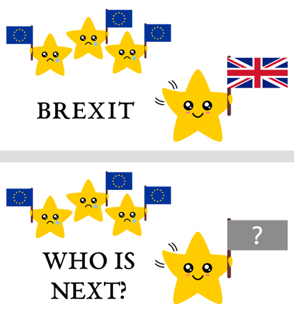 withdrawal: Brexit (UK withdrawal from European Union) vector illustration. Stars representing countries holding EU and British flags, happy UK waving goodbye to sad EU. Text: Brexit and Who is Next? Illustration