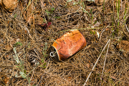 Crushed rusty aluminum can lying on ground in forest. Garbage polluting environment.