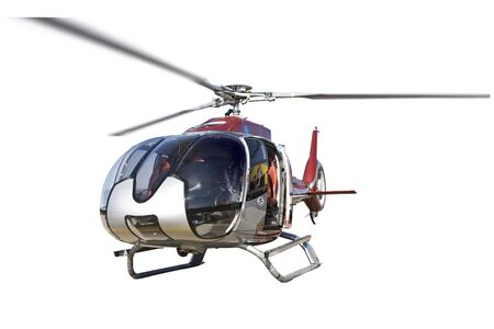 helicopter standing, isolated on white background, big size, nobody