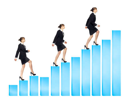 business woman walking up the chart bars infographics, different positions, isolated on white