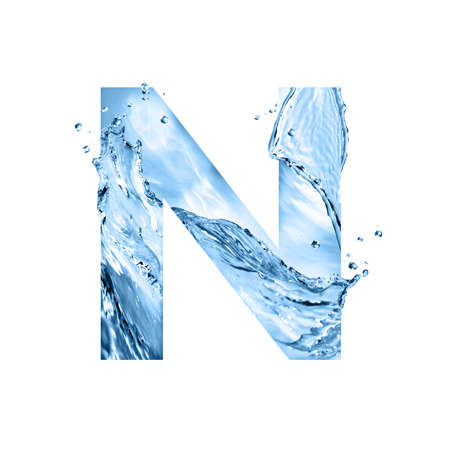 stylized font, text made of water splashes, capital letter n, isolated on white background Stock fotó