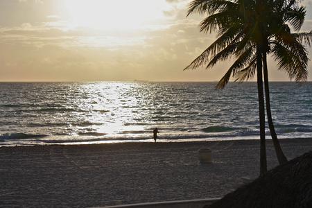 Hallandale Beach, Florida, sunset, lone fisher Stok Fotoğraf
