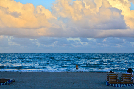 the bather: Hallandale Beach, Florida, evening, lone bather Stock Photo