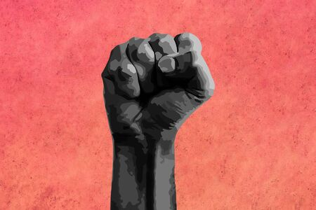 Black fist raised calling for freedom and equality.