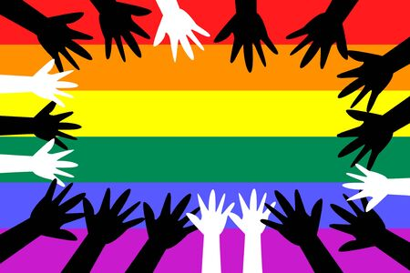 Concept of pride. Multicultural hands united under the rainbow flag of LGBT lesbians, gays, bisexuals and people.