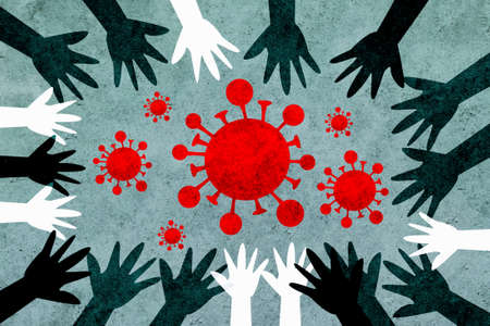 Hands of different colors and cultures of the world unite in a circle against coronavirus. Design with virus covid-19 concept.