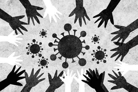 Hands of different colors and cultures of the world unite in a circle against coronavirus. We are all called to action against virus covid-19.