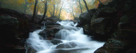 Waterfall flowing in the fall season. Beautiful autumn landscape in a beech forest. Beech trees with yellow, red and orange leaves. Montseny natural park, Barcelona, Catalonia.