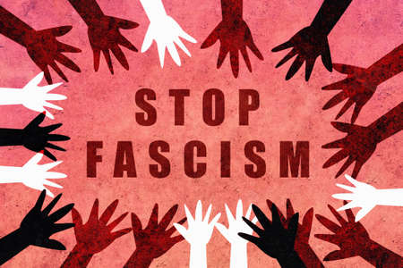Stop fascism. Design with hands of different colors and cultures of the world unite for freedom of expression, justice and stop fascism. Red design asking for freedom from Pablo Hásel.