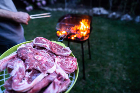 Raw meat to cook on the barbecue with the blazing fire. Preparing grilled meat on the barbecue in the garden at night. 免版税图像