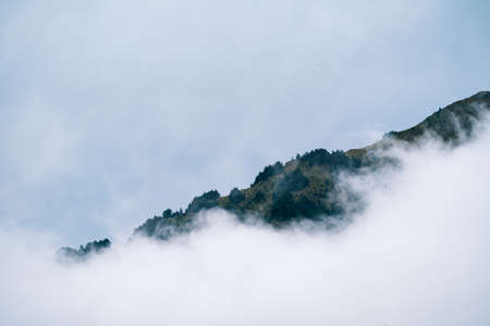 Misty foggy mountain landscape with copyspace in gloomy morning atmosphere. Dark tone, bad weather and cloudy day.