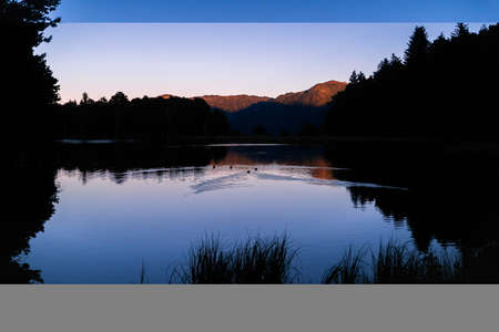Picturesque sunset or sunrise of beautiful landscape with illuminated peaks, silhouette of some ducks and trees. Fantastic evening panorama of alpine mountain lake. Beauty of nature concept.