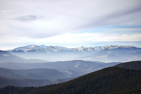 Winter mountain view of Svidovets Carpathian Mountains