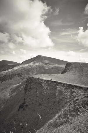 Carpathian mountains landscape, view from the height, Svidovets ridge, Ukraine, black and white photo