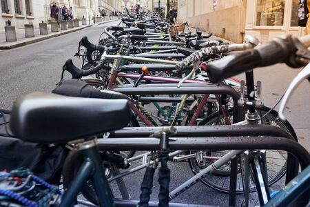 Paris, France - October 24, 2017: Urban scene. Bicycles parked near Sorbonne university