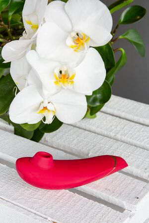Womanizer adult sex toys design minimal dildo vibrator for the clitoris on white wooden boards against the background of blossoming white orchids and green leaves. Sex shop concept with space for text Banco de Imagens