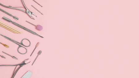 Nail care accessories. Professional steel pedicure tools. Manicure scissors, pusher, tongs, cutter, clipper and nozzles for polishing nails isolated on a pink background. Beauty concept.