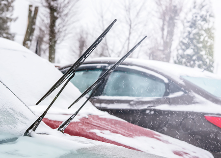 Car wiper blades in winter