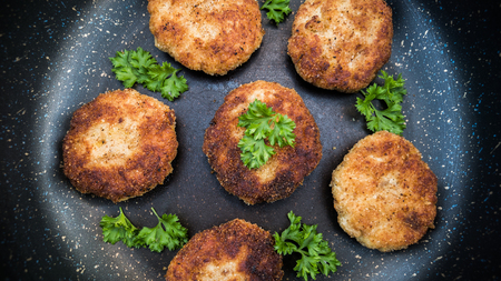 meat cutlets in a pan