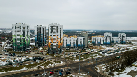 new residential area of multi-storey buildings Imagens