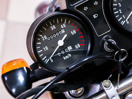 speedometer motorcycle with zero mileage. The bike is in the shop Stok Fotoğraf