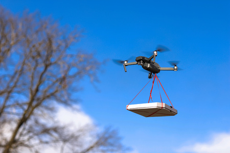 pizza is tied to the Quad. pizza delivery by drone