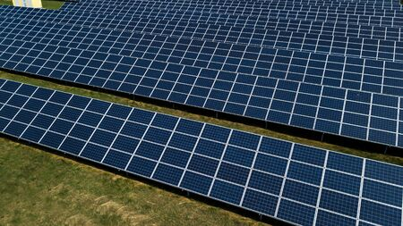 Aerial green rural and solar photovoltaic panel
