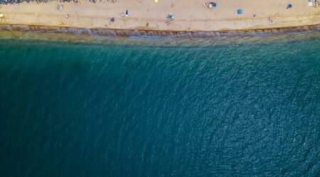 sea and sandy beach aerial photography with drone