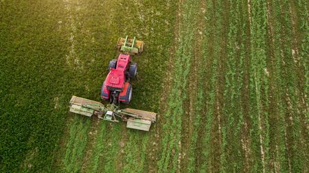 a tractor mows a field of aerial photography with drone Foto de archivo