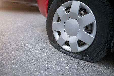 the punched wheel of the car close-up