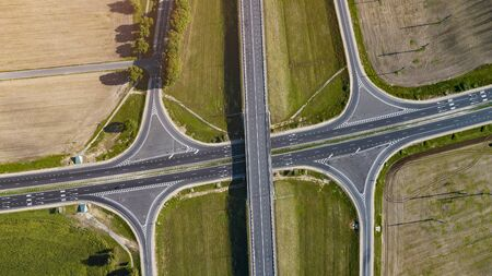 road junction aerial view from above drone 写真素材