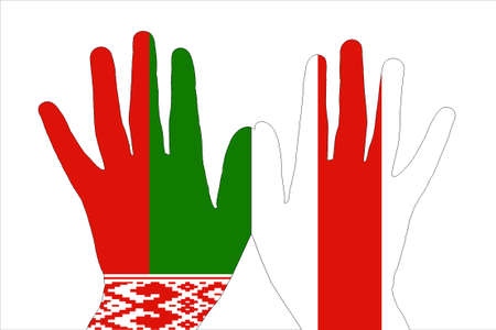silhouettes of hands with the national Belarusian flag and the opposition flag.