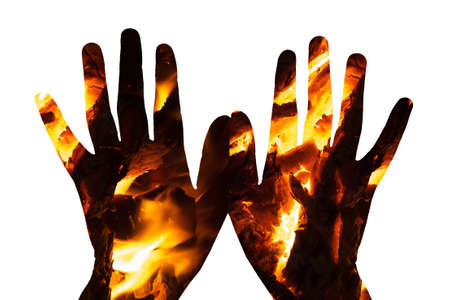 background fire in the palms on a white background