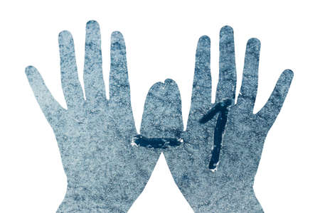 Frozen Glass -1 on hands on white background. 免版税图像