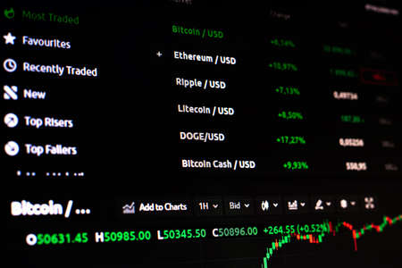 Close-up of stock market online downtrend chart of bitcoin currency. Cryptocurrency trading. Bitcoin analysis trend movement. Investment ecommerce and finance concept