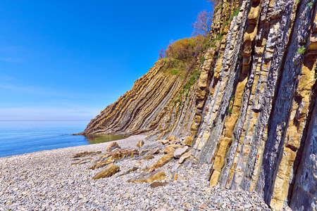 craggy: Craggy place with incrediable bright blue sky and the Black sea. Stock Photo