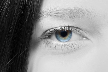 Female eye at a short distance Stock Photo