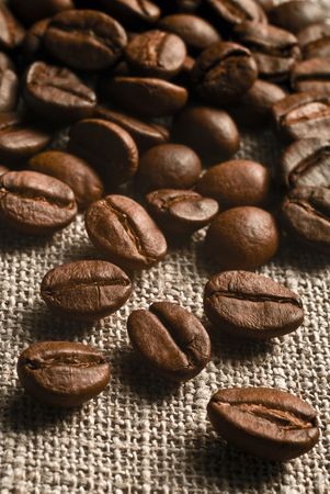 Coffee grains on a rough sacking Stock Photo
