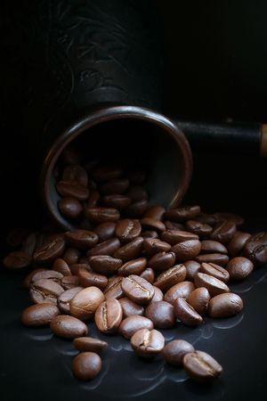 Close kind of fried coffee grains