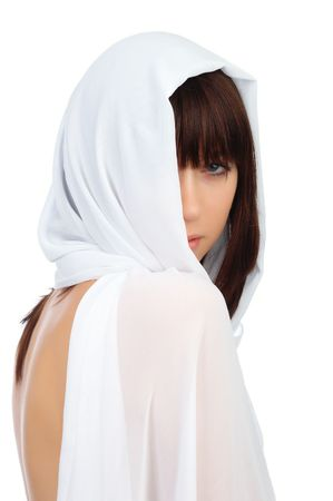 yashmak: young woman in a white yashmak on a white background
